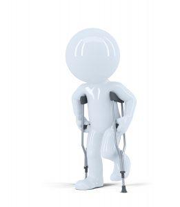 Hombre en 3D cáminando con múlestas por lesión de deporte