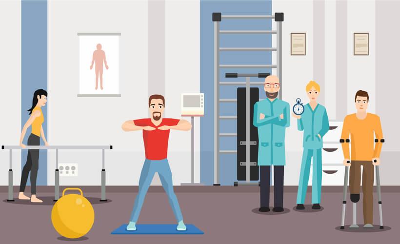 médico rehabilitador y fisioterapeuta en sala de rehabilitación y fisioterapia